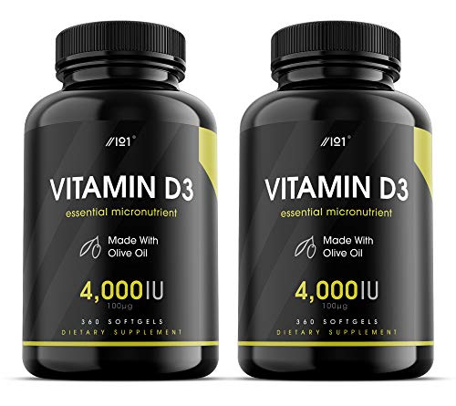 Vitamin D3 (4000iu/100mcg) Enhanced with Organic Olive Oil for Better Absorption ~ Non-GMO & Gluten Free (365 Mini Liquid Softgels) (2 Pack)