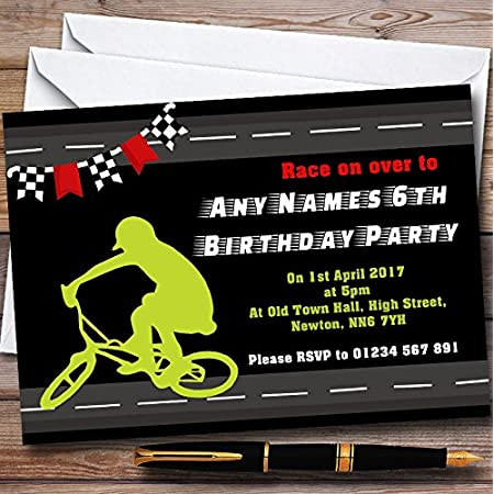 Yellow BMX Bike Cycle Personalized Party Thank You Cards