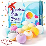 12 Bombas de Baño, Bolas de Baño con Aceites Esenciales Naturales Set de Regalo con Juguetes Sorpresa Baño de Burbujas Sales de Baño Relajantes y Divertidos, Regalo Cumpleaños Valentin Navidad