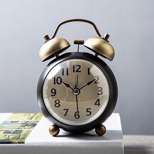 Luxuryclock Kleine wekker van metaal, creatief, voor scholieren, nachtkastje, wandklok, stil, retro, wekker, mechanisch, kamer Zwart