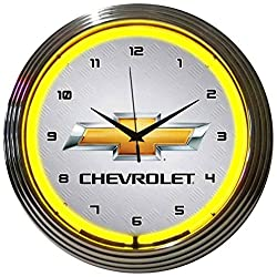 Neonetics Chevrolet Gold Bowtie Yellow Neon Wall Clock, 15 Inch
