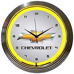 GM Chevrolet Yellow Neon Clock