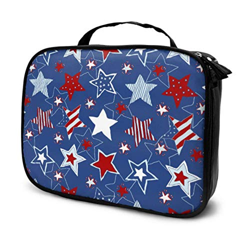 4th of July Stars and Stripes Travel Mens Toiletry Travel Bag Makeup Travel Bag Small Cosmetic Travel Bag Small Multifunction Printed Pouch for Women
