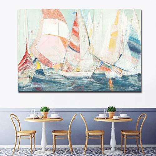 yaoxingfu Hermosa Vista del velero Impresión En Lienzo Pintura de Bricolaje Imagen de Arte de Pared Pintura de Pared Sala de Estar decoración del hogar 70x105cm