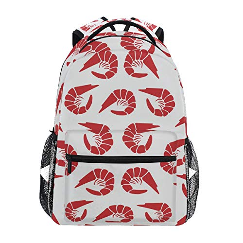 LORONA Shrimps Pattern Lässiger Rucksack Schultasche Computer Book Bag Reise Wandern Camping Daypack für Mädchen Jungen Männer und Frauen