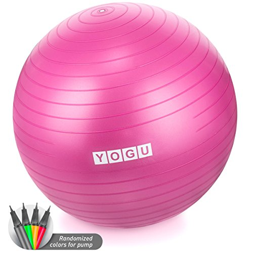YOGU Stability Exercise Ball 65cm Yoga Balance Ball Birthing Ball with Air Pump AntiSlip amp AntiBurst Supports 2000lbs Great for Yoga Pilates Abdominal Workout Fitness Ball and Office Chair
