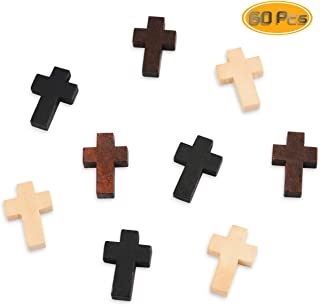 Oruuum 60PCS Natural Unfinished Wood Cross Pendants, Cross Charm Spacer Beads for Crafts & DIY Jewelry Projects (22x14x5mm, Black, Coffee, Beige)