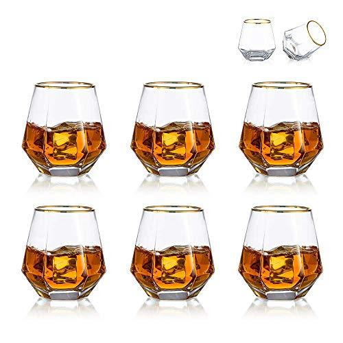 Diamond Whisky Glasses 6er-Set Gekipptes Scotchglas 300 Ml Whiskyglas Moderner Look Für Männer Frauen, Papa, Ehemann, Freunde, Glaswaren Für Bourbon/Rum/Bar Tumbler