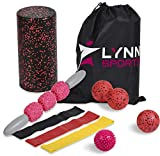 LYNN SPORTS High Density Exercise Foam Roller Set Kit | 8 in 1 + Tote Bag (EVA Muscle Roller Stick, 3 Massage Balls & 3 Resistance Loop Bands) - Physical Therapy Injury Prevention Deep Tissue Massage