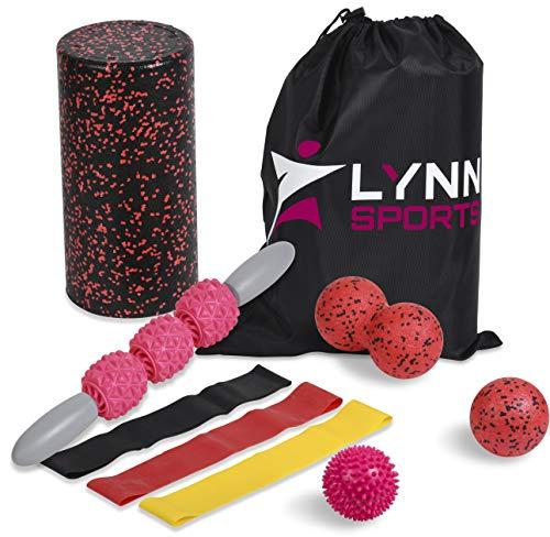 LYNN SPORTS High Density Exercise Foam Roller Set Kit   8 in 1 + Tote Bag (EVA Muscle Roller Stick, 3 Massage Balls & 3…