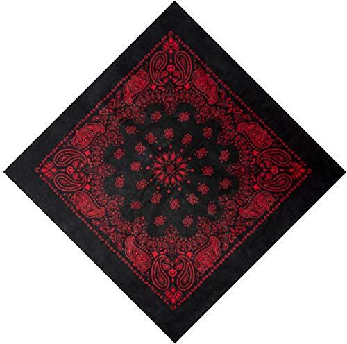 Grand bandana carré en coton noir motif Cachemire occidental rouge 68,6 cm