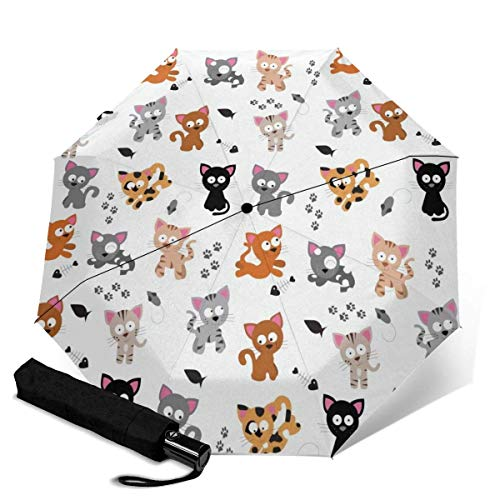 Fast Drying Travel Umbrella, Reinforced Windproof Frame, Auto Open/Close, Slip-Proof Handle for Easy Carry, Pet Cat Baby Mouse Paw Printed