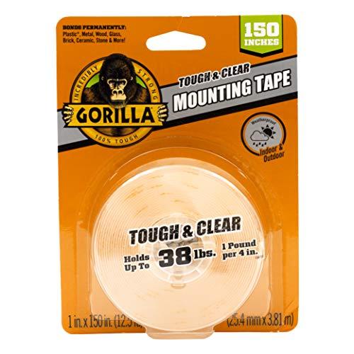 Gorilla Tough & Clear 6036002 Cinta de montaje XL de doble cara, 2,54 x 381 cm, transparente, (paquete de 1)