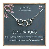 EFYTAL Generationsネックレス おばあちゃん用 スターリングシルバー 3つの厚いインフィニティサークル ママ&子供 母の日ジュエリー 誕生日ギフト