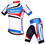 sponeed Cycling Jersey Short Sleeve Bike Sportswear Shorts Bicycle Clothes for Men Mountain Gear Large Blue...