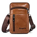 Hengwin Genuine Leather Cellphone Pouch Case Belt Clip Holster for iPhone 11 Pro Max XS Max XR 6 7 8 Plus Samsung Galaxy Note 20 Ultra 9 8 4 S10 Plus Men Bag Crossbody Phone Purse with Shoulder Strap
