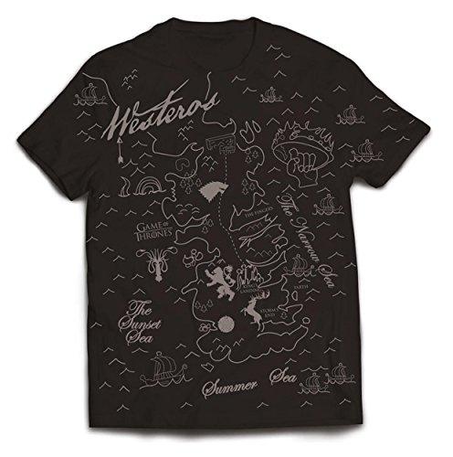 Plastic Head Game of Thrones Westeros Map T-Shirt, Nero, XXL Uomo