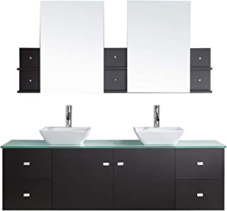 Virtu USA Clarissa 72 inch Double Sink Bathroom Vanity Set in Espresso w/ Square Vessel Sink, White Engineered Stone Countertop, Single Hole Polished Chrome, 2 Mirrors - MD-409-S-ES