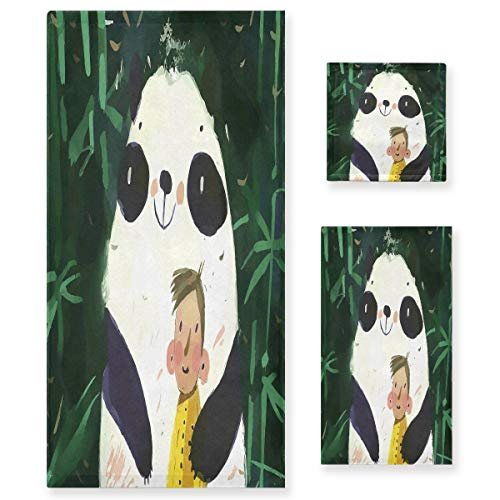 Verde Dibujos Animados Panda Gordo Juego de Toallas para Baño Playa 100% Algodón de Piscina Toalla (1 Toalla de Baño y 1 Toalla de Mano y 1 Paño de Lavado) para Nadar Hotel Niñas Niños Niños