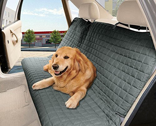 Elegant Comfort Quilted Design0 Waterproof Premium Quality Bench Car Seat Protector Cover (Entire Rear Seat) for Pets - Ties to Stop Slipping Off The Bench, Gray