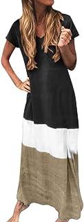 Women O-neck Short Sleeve Elegant Long Dress ❀ Ladies Summer Color Patchwork Plus Size Loose Maxi Dress Party Dress
