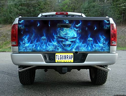 Avery T13 Flaming Skull Skulls Blue Tailgate WRAP Vinyl Graphic Decal Sticker F150 F250 F350 Ram Silverado Sierra Tundra Ranger Frontier Titan Tacoma 1500 2500 3500 Bed Cover Tint Image