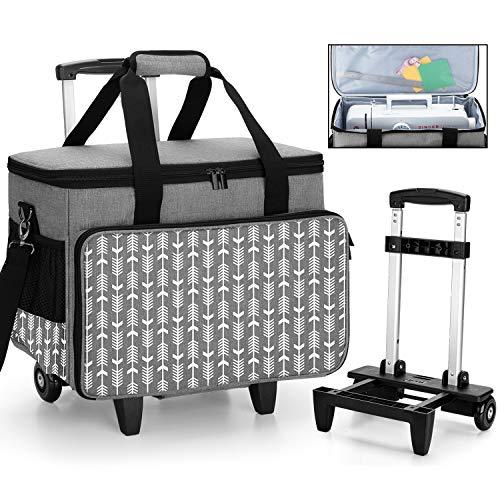 Yarwo Abnehmbare Nähmaschinentrolley, Nähmaschine Koffer mit Rollen, Nähmaschine Trolley Tasche mit unterer Stützplatte für die meisten Standard-Nähmaschinen und Zubehör, Grau mit Pfeilmuster