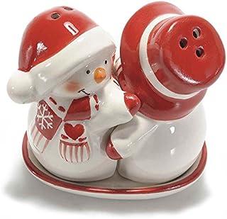 Paben Noel Set Sale e Pepe Natalizio Gnomi in Ceramica Smaltata