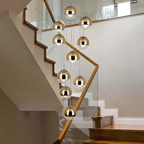 moderne Treppe Kronleuchter 10 Glaskugeln kreative Persönlichkeit Wohnzimmer Leuchte minimalistischen langen Pendelleuchte, 40 * 200 cm (Farbe : Gold) - 3