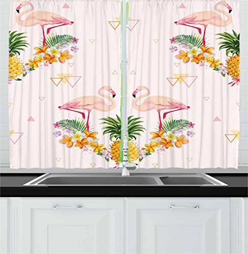 """Ambesonne Flamingo Kitchen Curtains, Floral Flamingo with Pineapple Hawaiian Flowers Bananas Triangles Retro, Window Drapes 2 Panel Set for Kitchen Cafe Decor, 55"""" X 39"""", Yellow Green"""