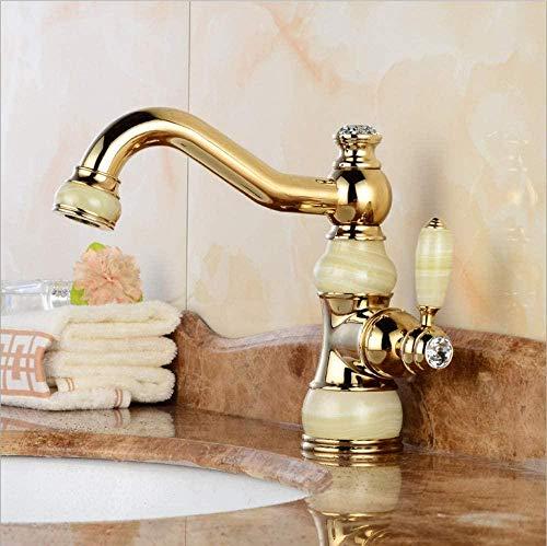 Grifo de lavabo Cuerpo de jade de latón dorado Grifo de lavabo giratorio de 360 grados Mezclador de agua de grifo de encimera para lavabo