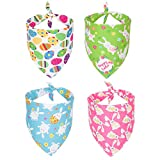4 Pack Easter Dog Bandana Triangle Dog Scarf Rabbit Easter Egg Pattern Pet Bandana for Small Medium Dogs Pets