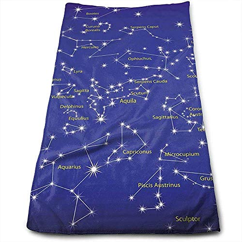 Hangdachang Astronomy Science Names of Stars Personality Fun Pattern Face Towels Superfine Fiber Super Absorbent Soft Gym Towels