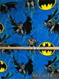Fleece Printed Antipill Winter Fabric DC Comics Batman Logo and Thunder Background / 58' Wide/Sold by The Yard