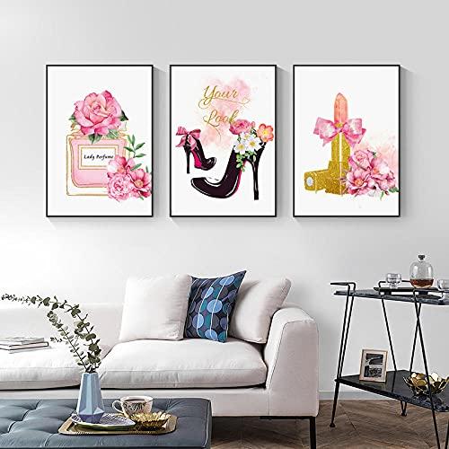 Perfume De Flores Rosas Labios Dorados Arte De Pared De Moda Nórdica 3 Piezas Lienzo Pintura Pared Arte Póster Impresión Para Decoración De Sala De Estar 12'X16'X3Panels