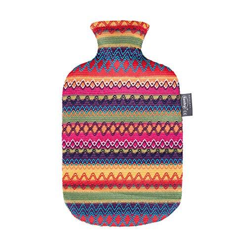 Fashy 6757 25 Wärmflasche ~ Thermoplast- Wärmeflasche mit Kuschelbezug im Peru-Design, geruchsneutral, recyclingfähig, robust und langlebig, fugenloser, schmaler Flaschenhals ~ 2,0 Liter