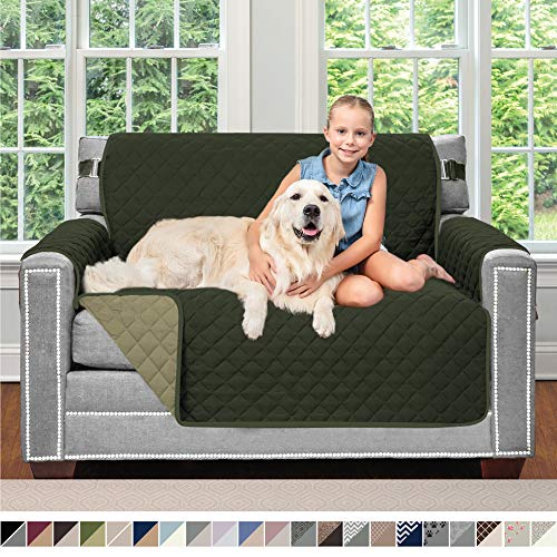 Sofa Shield Original Patent Pending Reversible Chair Protector for Seat Width up to 48 Inch, Furniture Slipcover, 2 Inch Strap, Chairs Slip Cover Throw for Pets, Cats, Armchair, Hunter Green Sage