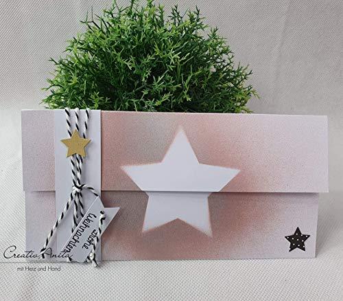 Gutschein- oder Geldgeschenkverpackung zu Weihnachten mit Sternen in Weiß-Rosegold