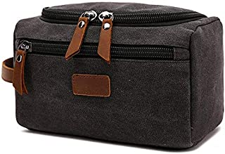 SODIAL Black Canvas Toiletry Bag for Men Wash Shaving Kit Women Travel Make UP Cosmetic Pouch Bags Case Organizer