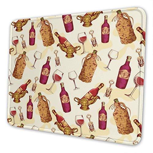 Alfombrilla de ratón para Juegos Ahdyr Alfombrilla de ratón Rectangular Personalizada de 9,5 x 7,9 Pulgadas Alfombrilla de ratón con Estampado de Vino Tinto, Base de Goma Antideslizante, cómoda alfom