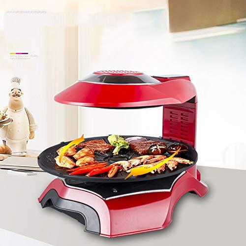 Elektrogrill 1500 Watt Halogen-Infrarot-Heizung Rauchfreier Fettfreier Grill Pflegeleichter Grilltopf,Red