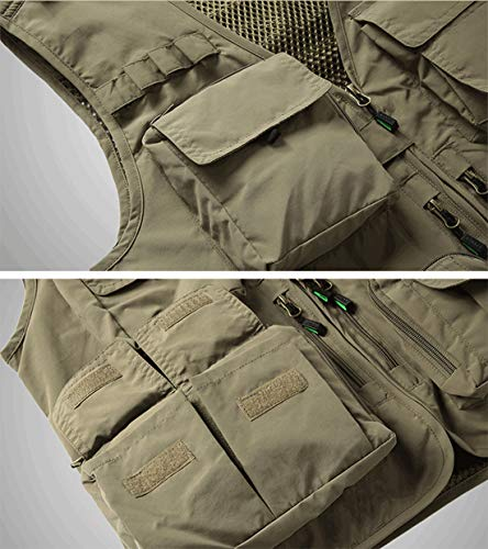 YDSH Men's Vest Outdoor Vest Safari Practical Zipper Multi-Pocket Mesh Breathable Camping Hunting Fishing Photography Hiking Vest Army Green