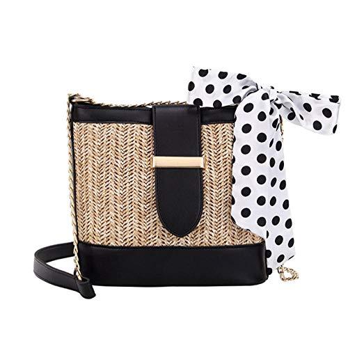Dwqlx Retro Woven Straw Bag Schal Buckle Bucket Bag Frauen Schulter Messenger Bags Clutch Purse Bolso Lady Handtasche @ C