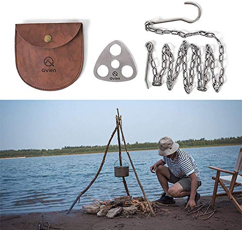 Camping Tripod Board, Campfire Grill Tripod, Barbecue Rack Hanger, Tripod BBQ Campfire Hanging Pot Bracket Adjustable Hanging Chain (118 cm,Turn Branches Into Campfire Tripod for Camping Activities