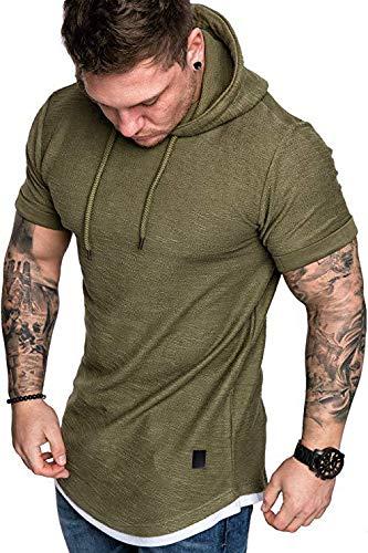 HUAZONG Sweat à capuche à manches courtes pour homme - Léger - Coupe ajustée - Classique - Solide - Vert - Taille L