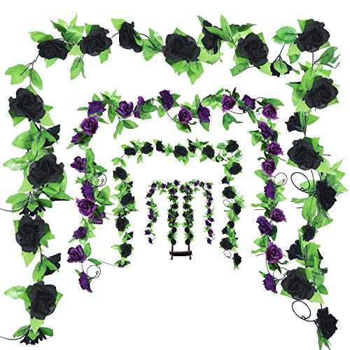 WILLBOND 4 Pieces 7.7 Feet Halloween Rose Vine Artificial Rose Vine Hanging Flower Garland for Halloween Indoor Outdoor Home Wall Decorations (Black and Purple)