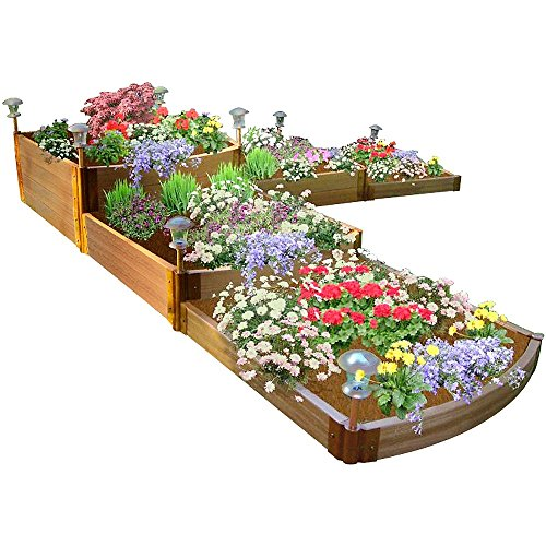 "Frame It All Two Inch Series Composite Split Waterfall Raised Garden Bed Kit, 144"" x 144"" x 22"""