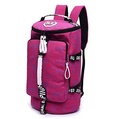 WOMJIA WOMJIA Bunt Reisetsache Sporttasche Weekender Tasche Handgepäck aus Canvas Segeltuch 35 Liter Pink