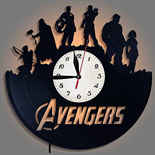 LittleNUM Vinyl-LP Wanduhr Kreative Wanduhr Farbe wechselnde LED-dekorativ Wanduhr The Avengers für Freunde, die wie Marvel ist EIN besonderes Geschenk