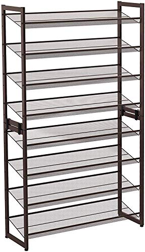 SONGMICS 8-Tier Shoe Rack, Set of 2 Stackable 4-Tier Shoe Organizers, Adjustable Flat or Angled Shelves, Bronze ULMR08A